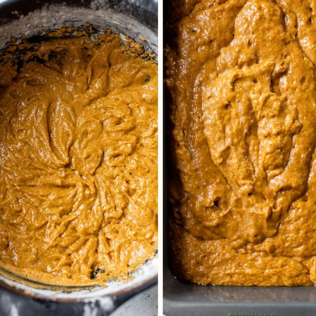 pumpkin bread batter in a bowl and in a bread pan