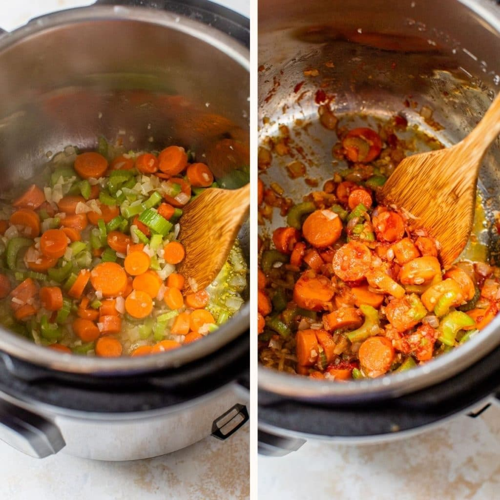 cooked carrots, celery and onion in the instant pot