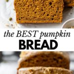 pumpkin bread on parchment paper with text overlay