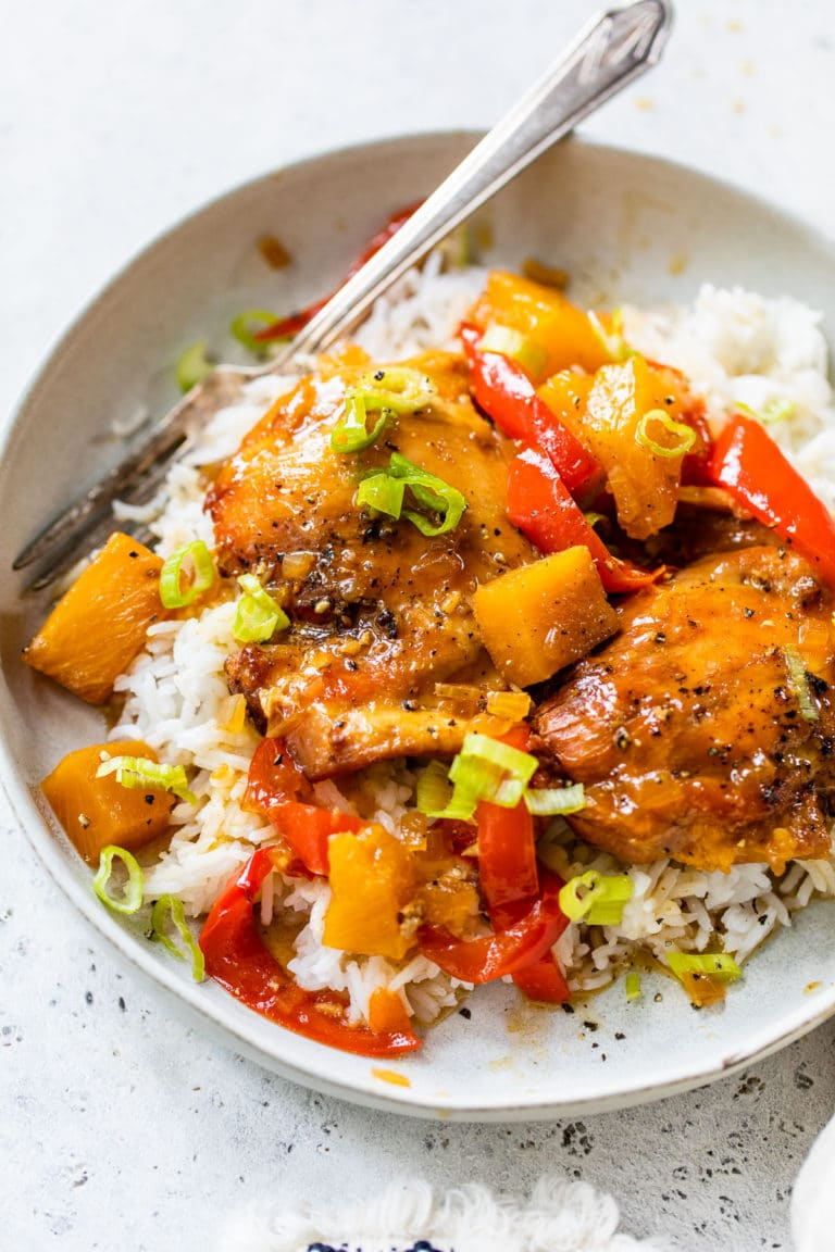 hawaiian chicken in a bowl over white rice