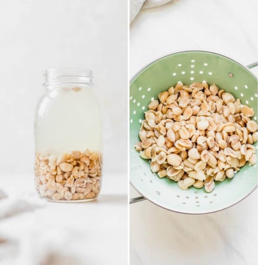 peanuts in a jar and in a green strainer