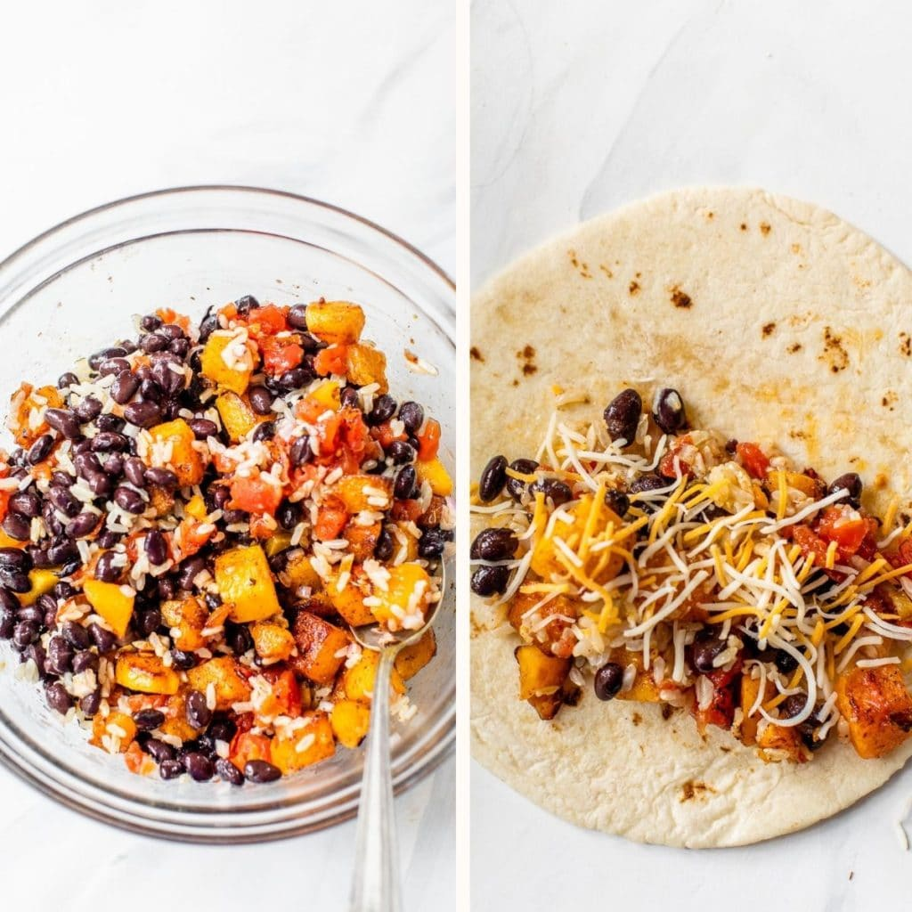 butternut squash, black beans and diced tomatoes in a bowl and in a tortilla