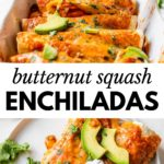 enchiladas in a baking pan and on a plate with text overlay