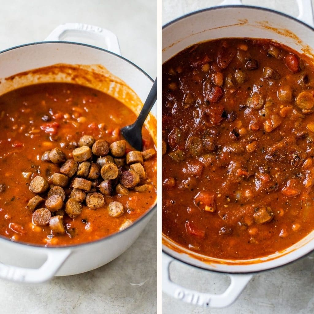 chili with sausage in a dutch oven