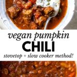 a bowl of chili topped with sour cream and pumpkin seeds and text overlay