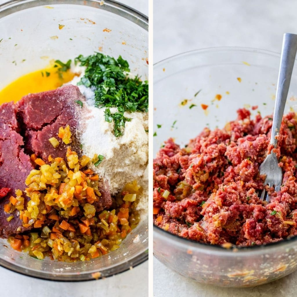 raw meat, eggs and diced veggies in a large glass bowl